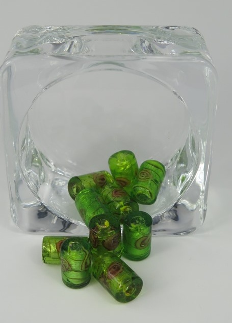 Glaspärlor avlånga Grön/gul