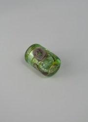 Glaspärlor avlånga Ljusgrön/gul