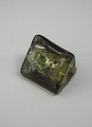 Glaspärlor trekantiga Grå grön