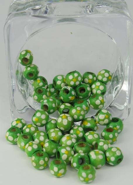 Handmålade träpärlor Grön
