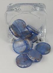 Runda flata glaspärlor Blå