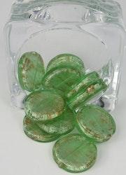 Runda flata glaspärlor Grön
