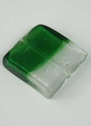 Fyrkantiga glaspärlor grön/vit