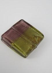 Fyrkantiga glaspärlor lila/guld