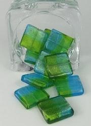 Fyrkantiga glaspärlor blå/grön
