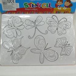 Rit stencil fjärilar