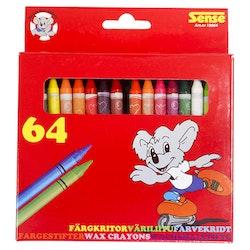 Sense Färgkritor 64-p