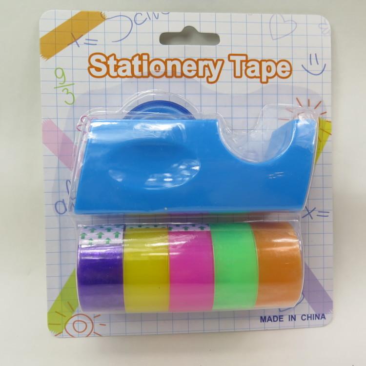 Tejphållare blå med 6 rullar färgad tejp