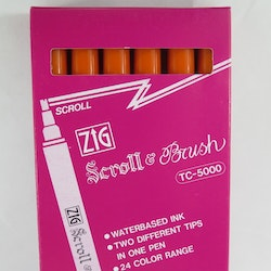 Zig Scroll & Brush tuschpennor 6-p orange