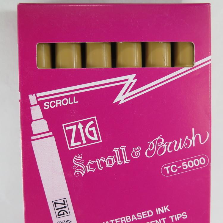 Zig Scroll & Brush tuschpennor 6-p beige