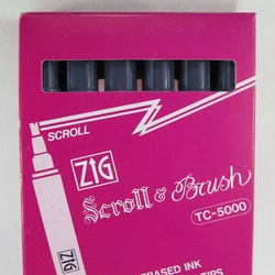 Zig Scroll & Brush tuschpennor 6-p grå