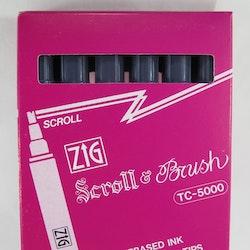 Zig Scroll & Brush tuschpennor 6-p grå