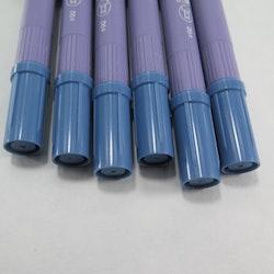 Zig Scroll & Brush tuschpennor 6-p blågrå