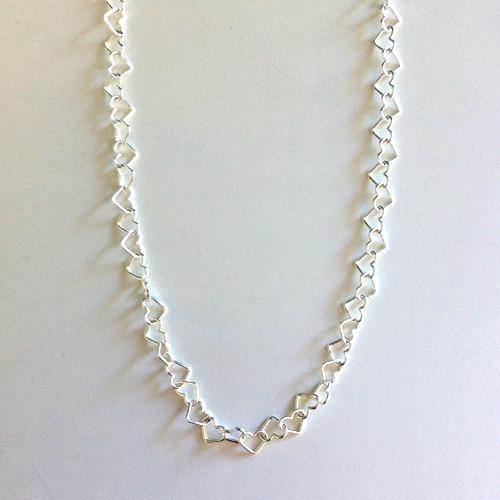 Hjärthalsband i silver  (5 mm) - 45 cm