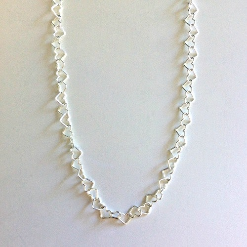 Hjärthalsband i silver (5 mm) - 70 cm
