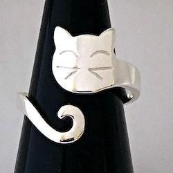 Stilren och söt kattring i silver, ställbar