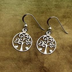 Livets träd - Örhängen med två små hjärtan