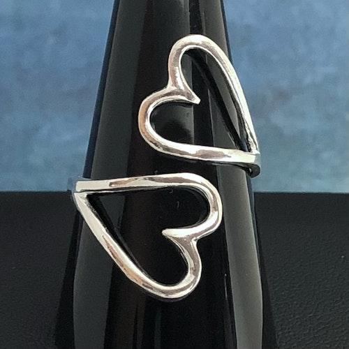 Hearts - Justerbar silverring
