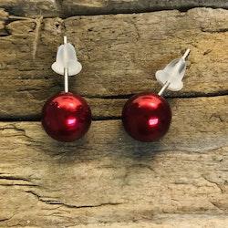 Örhängen - Röda kulor, 7 mm