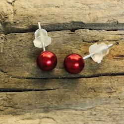 Örhängen - Röda kulor, 5 mm