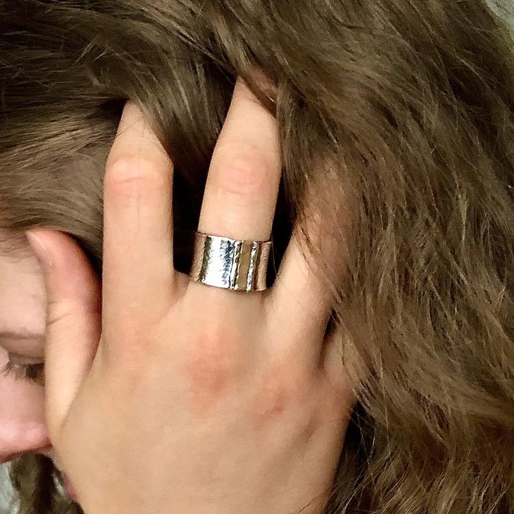 Brooke - Silverring med guldinslag