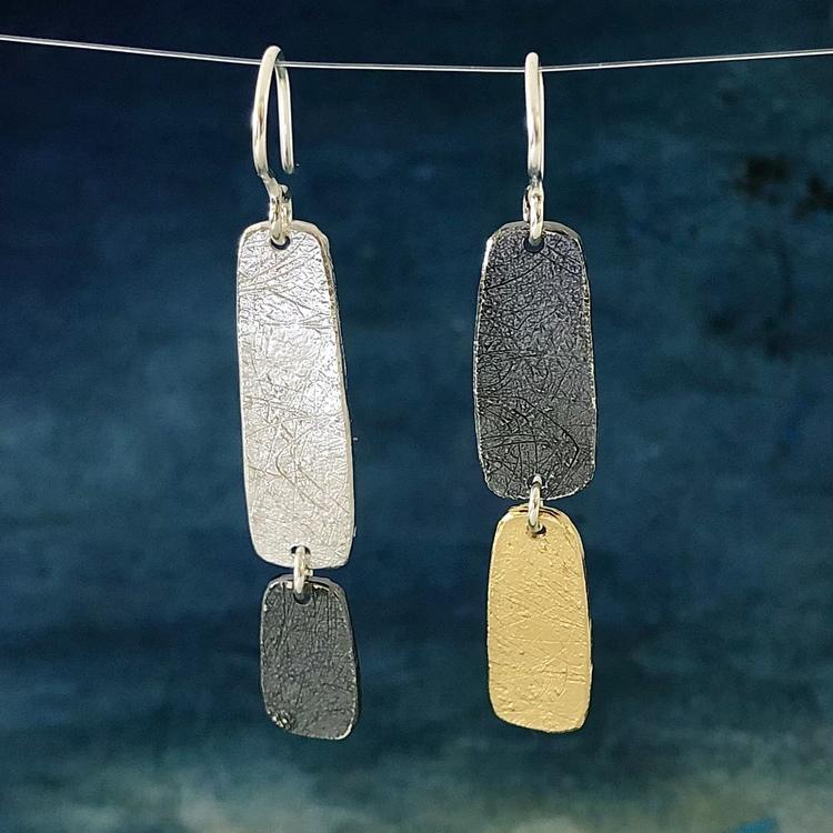 Grace - Silverörhängen i svart, guld och silver