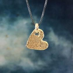 Guldhjärta - Halsband i silver med guldplätering