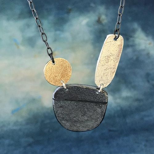 Oliwia - Halsband i silver, guld och svartoxid