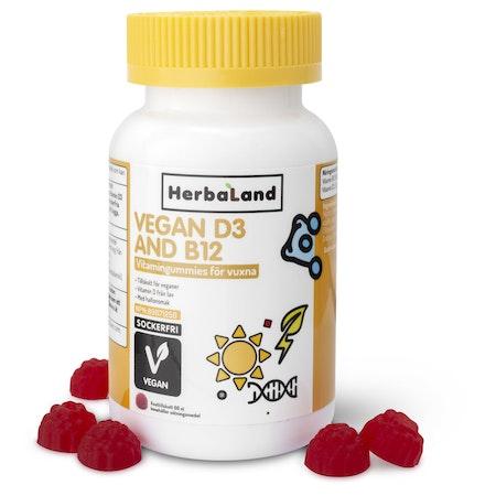 Herbalands Vegan D3+B12, 60 st