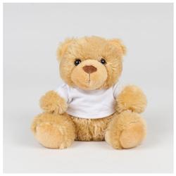 Teddybjørn med personlig hilsen på hvit t-skjorte