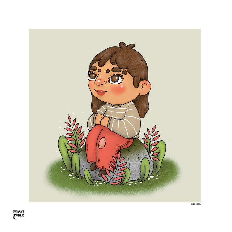 Flicka på sten
