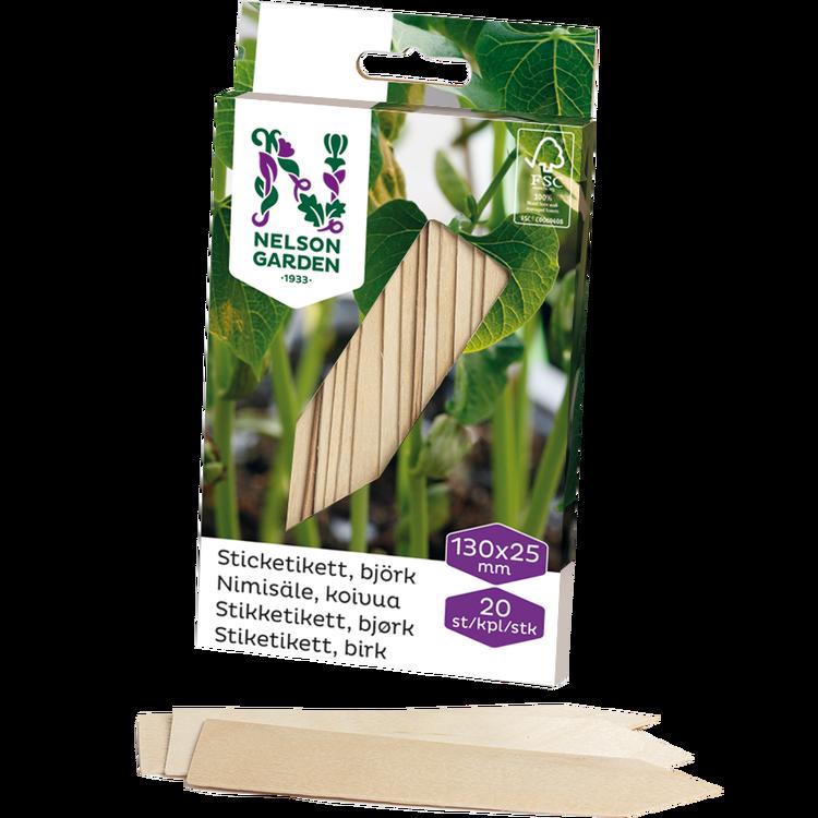 Sticketiketter trä, 13 cm
