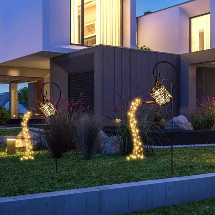 Ihålig smidesjärnlampa Solvattning , fairy ljus trädgård