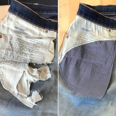 Lagningar av fickor på byxor och jeans.