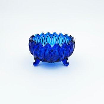 Större blå glasskål