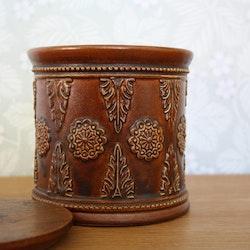 Lockburk i keramik med teaklock