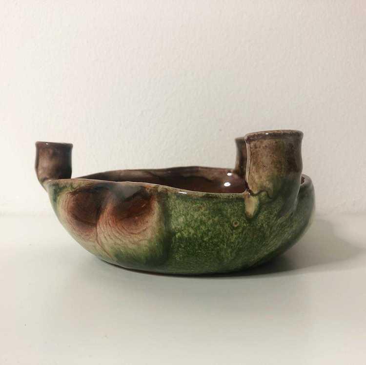 Ljusstake och skål i keramik med plats för 3 ljus