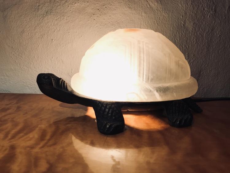 Sköldpaddslampa i järn samt glas tänd