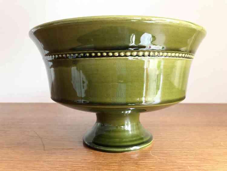 höganäs keramik skål grön