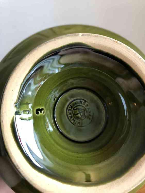 höganäs keramik skål grön stämpel