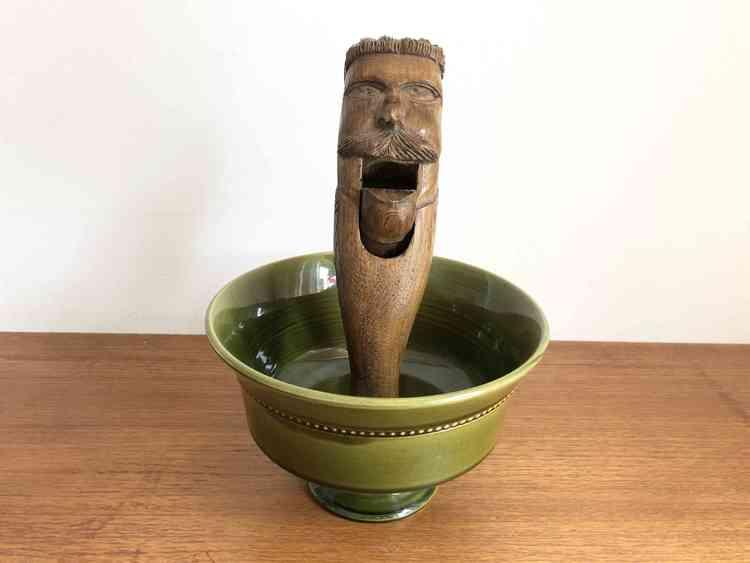 höganäs keramik skål på fot grön