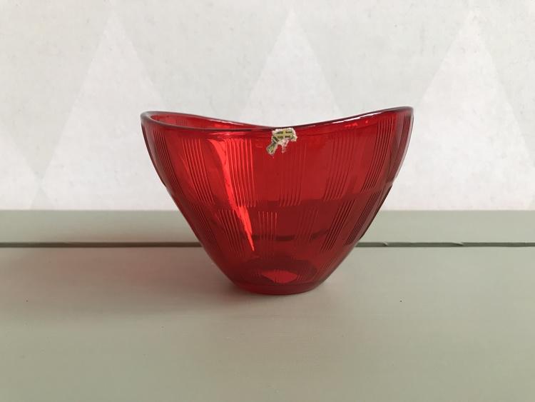 Röd glasskål - liten