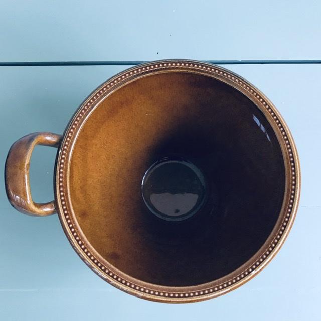 old höganäs keramik skål brun uppifrån