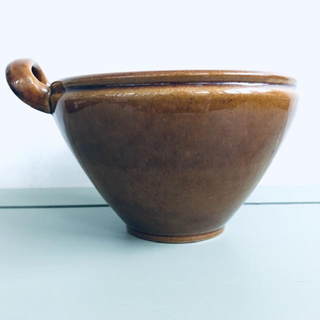 old höganäs keramik skål brun sidan