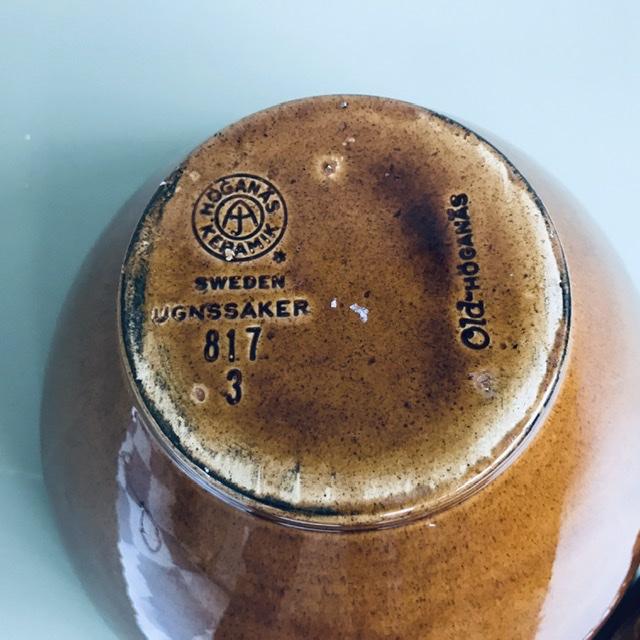 old höganäs keramik skål brun stämpel