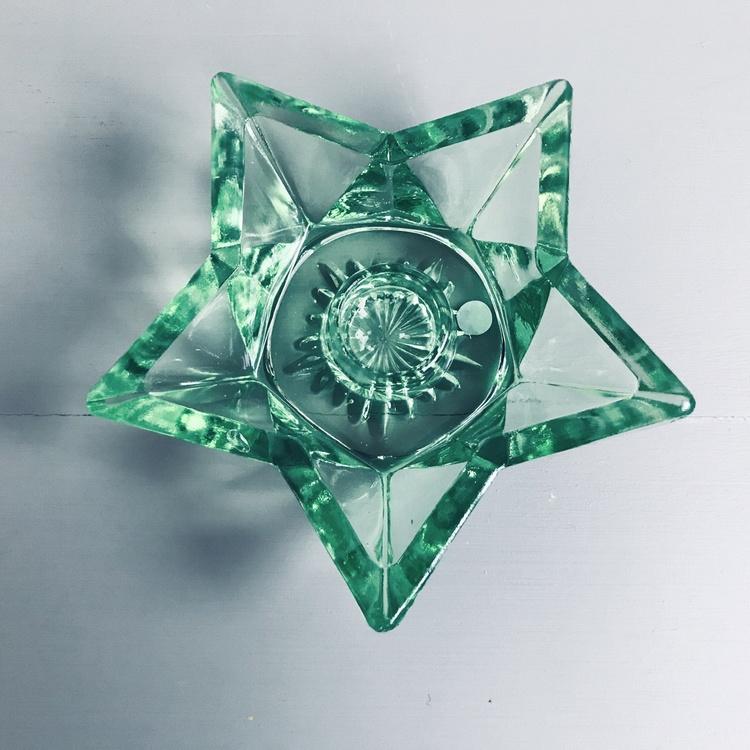 Stjärnljusstakar grönt glas