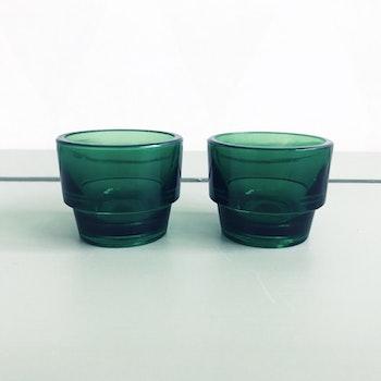 Gröna äggkoppar i glas - Duralex, Frankrike