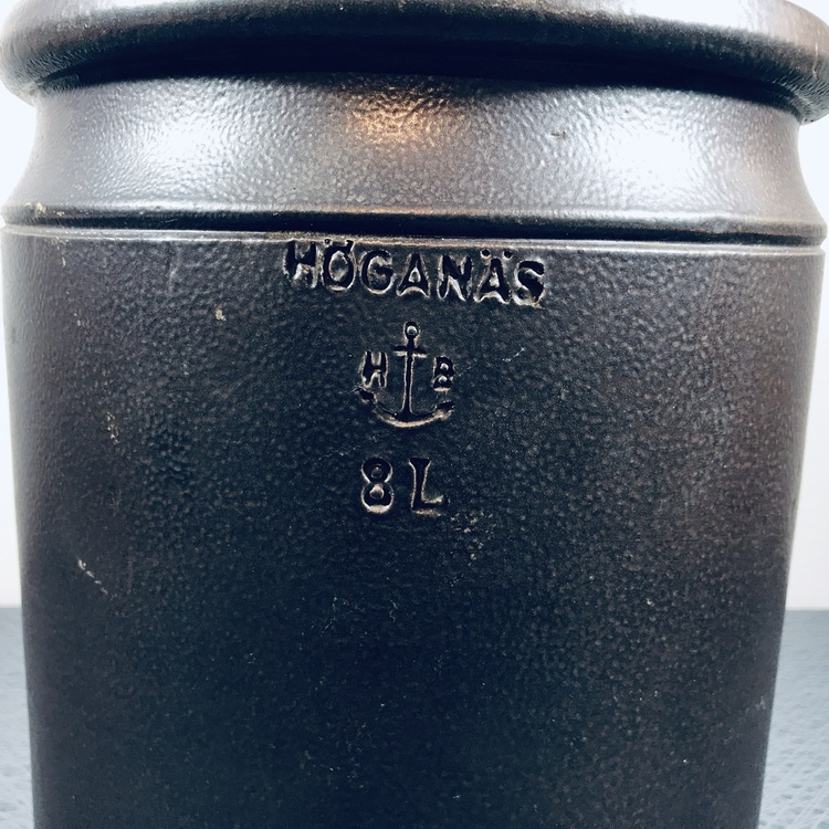 höganäs keramik krus brunt 8 liter stämpel