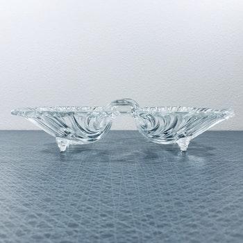Dubbel snäckskål i glas