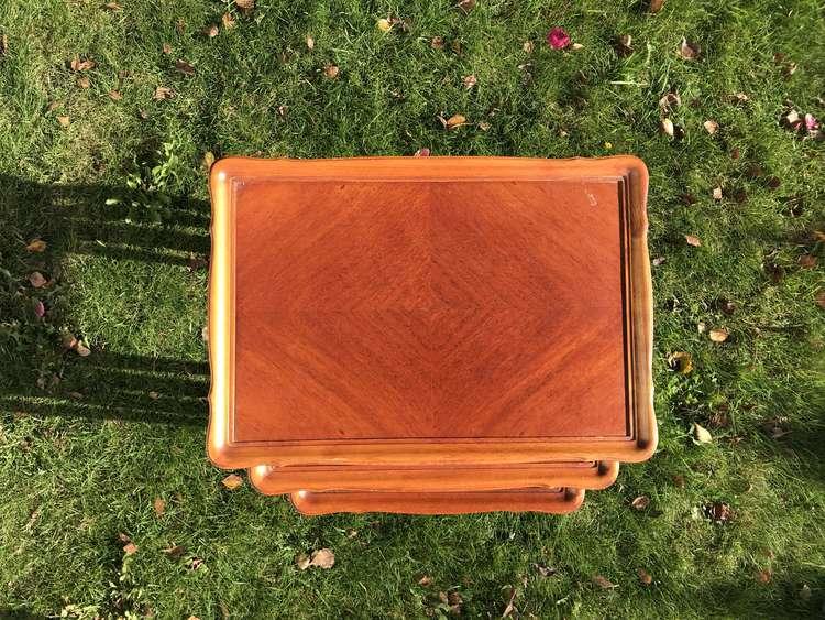Satsbord i Rokoko-stil i 3 delar, Mahogny - Nybro 70-tal topvy